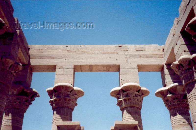 egypt37: Philae, Aswan Governorate, Egypt: Kiosk of Trajan - capitals on a pristine sky  - island of Agilka - Unesco world heritage site - photo by M.Torres - (c) Travel-Images.com - Stock Photography agency - Image Bank