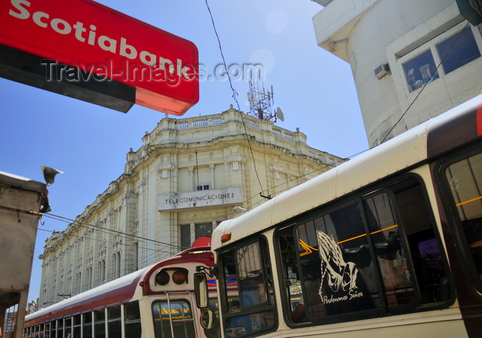 el-salvador20: San Salvador, El Salvador, Central America: telecom building and buses on Calle Arce - Scotiabank sign - photo by M.Torres - (c) Travel-Images.com - Stock Photography agency - Image Bank
