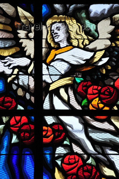 el-salvador26: San Salvador, El Salvador, Central America: Metropolitan Cathedral - angel - stained glass window of one of the side chapels - photo by M.Torres - (c) Travel-Images.com - Stock Photography agency - Image Bank