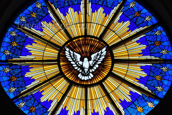 el-salvador28: San Salvador, El Salvador, Central America: Metropolitan Cathedral - the Holy Spirit as a dove - stained glass - rose window - photo by M.Torres - (c) Travel-Images.com - Stock Photography agency - Image Bank