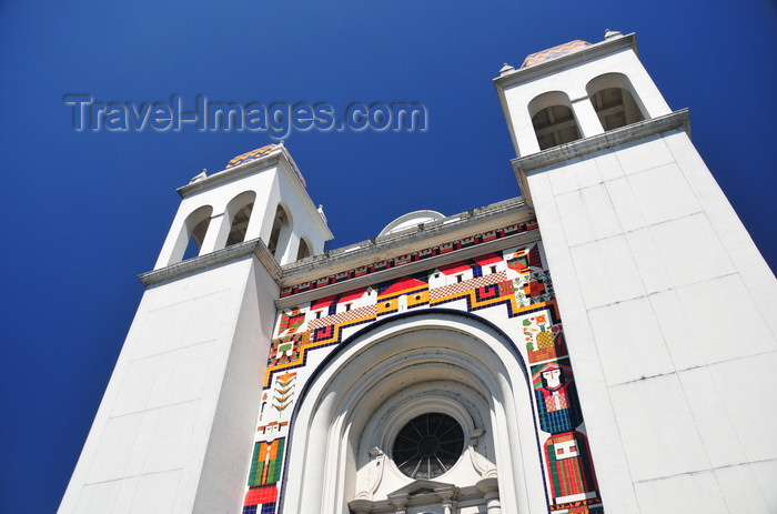 el-salvador35: San Salvador, El Salvador, Central America: Metropolitan Cathedral of the Holy Savior - façade on plaza Barrios - ceramic artwork by Fernando Llort - photo by M.Torres - (c) Travel-Images.com - Stock Photography agency - Image Bank
