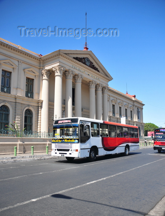 el-salvador41: San Salvador, El Salvador, Central America: National Palace and passing bus - Plaza Barrios - photo by M.Torres - (c) Travel-Images.com - Stock Photography agency - Image Bank