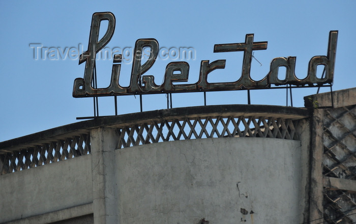 el-salvador56: San Salvador, El Salvador, Central America: Parque Libertad - sign at the old cine Libertad movie theatre - photo by M.Torres - (c) Travel-Images.com - Stock Photography agency - Image Bank
