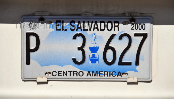 el-salvador62: San Salvador, El Salvador, Central America: Salvadoran license plate, with map and the Monument to the Savior of the World - photo by M.Torres - (c) Travel-Images.com - Stock Photography agency - Image Bank