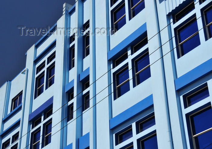el-salvador63: San Salvador, El Salvador, Central America: blue façade on 6a calle oriente - photo by M.Torres - (c) Travel-Images.com - Stock Photography agency - Image Bank
