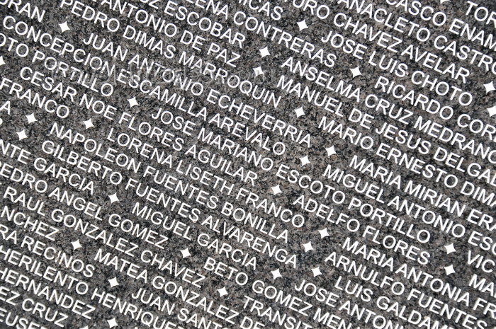 el-salvador7: San Salvador, El Salvador, Central America: Parque Cuscatlán - Monumento a la memoria y la verdad - names of victims on the granite wall - photo by M.Torres - (c) Travel-Images.com - Stock Photography agency - Image Bank