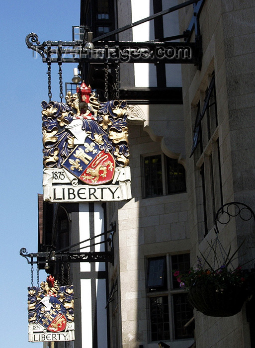 england131: London: Liberty department store - signs - Regent Street - West End shopping district (photo by K.White) - (c) Travel-Images.com - Stock Photography agency - Image Bank