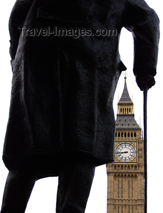 england134: UK - London: Big Ben and statue of Churchill - cane - photo by K.White - (c) Travel-Images.com - Stock Photography agency - Image Bank