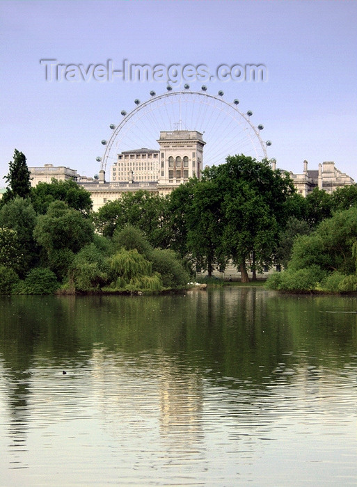 england136: London: British Airways London Eye and Horse Guards' Road as seen from St James Park - photo by K.White - (c) Travel-Images.com - Stock Photography agency - Image Bank