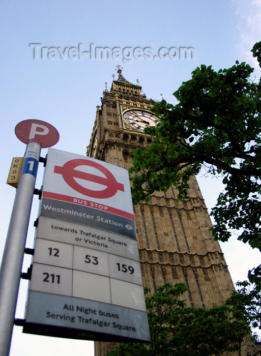 england141: London: Big Ben and bus stop - photo by K.White - (c) Travel-Images.com - Stock Photography agency - Image Bank
