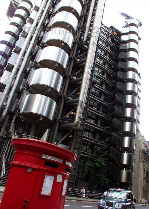 england142: London: LLoyds building amd Royal Mail - City - London's main financial district - photo by K.White - (c) Travel-Images.com - Stock Photography agency - Image Bank