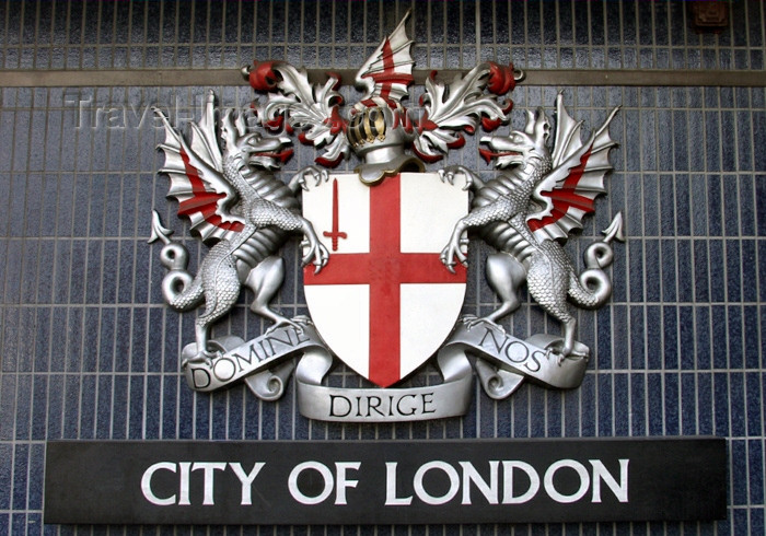 england161: London: City of London crest - coat of arms -  - motto Domine dirige nos - photo by K.White - (c) Travel-Images.com - Stock Photography agency - Image Bank