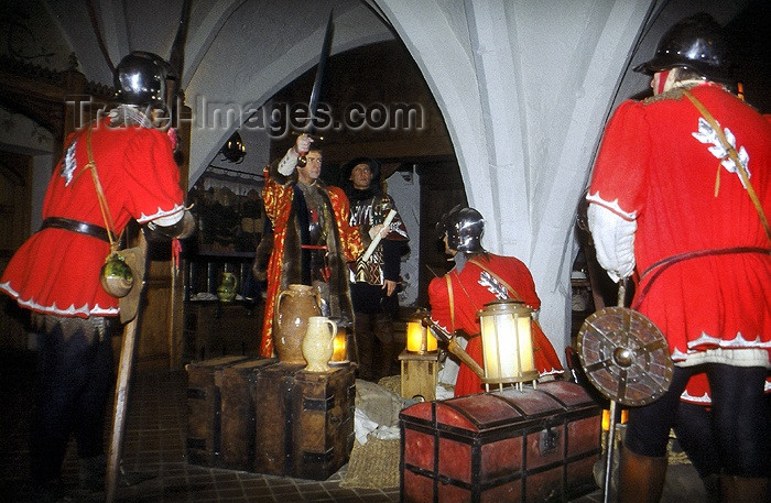 england179: Warwick, Warwickshire, West Midlands, England: medieval life - waxworks by Madame Tussaud at the castle - photo by F.Hoskin - (c) Travel-Images.com - Stock Photography agency - Image Bank