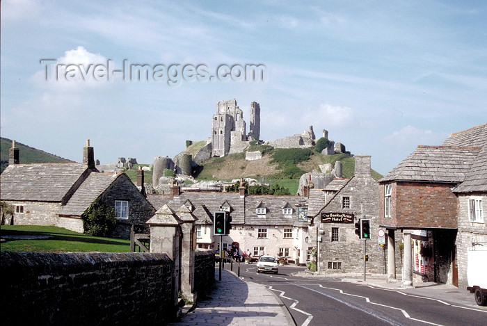 england191: England - Purbeck district (Dorset): Corfe Castle commanding a gap in the Purbeck chalk ridge - photo by R.Eime - (c) Travel-Images.com - Stock Photography agency - Image Bank