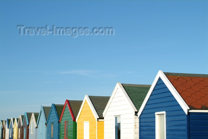 england207: Southwold, Waveney district, Suffolk, East Anglia, East England: beach huts rainbow - photo by K.White - (c) Travel-Images.com - Stock Photography agency - Image Bank