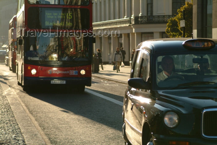 england217: London: taxi and doubledecker bus - Stagecoach, bus nr 15 - the Strand - City of Westminster - photo by K.White - (c) Travel-Images.com - Stock Photography agency - Image Bank