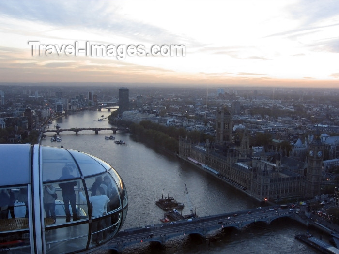 england225: London: British Airways London Eye - the Thames - photo by K.White - (c) Travel-Images.com - Stock Photography agency - Image Bank