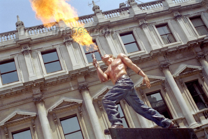 england242: London: statue of a flame thrower (photo by M.Bergsma) - (c) Travel-Images.com - Stock Photography agency - Image Bank