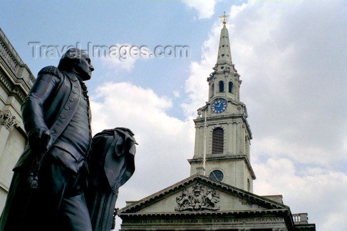 england245: London: Trafalgar square - church of St Martin in the Fields and George Washington - photo by M.Bergsma - (c) Travel-Images.com - Stock Photography agency - Image Bank
