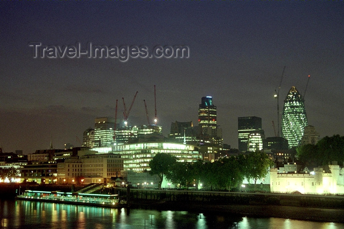 england249: London: skyline at night - the Gherkin - photo by M.Bergsma - (c) Travel-Images.com - Stock Photography agency - Image Bank
