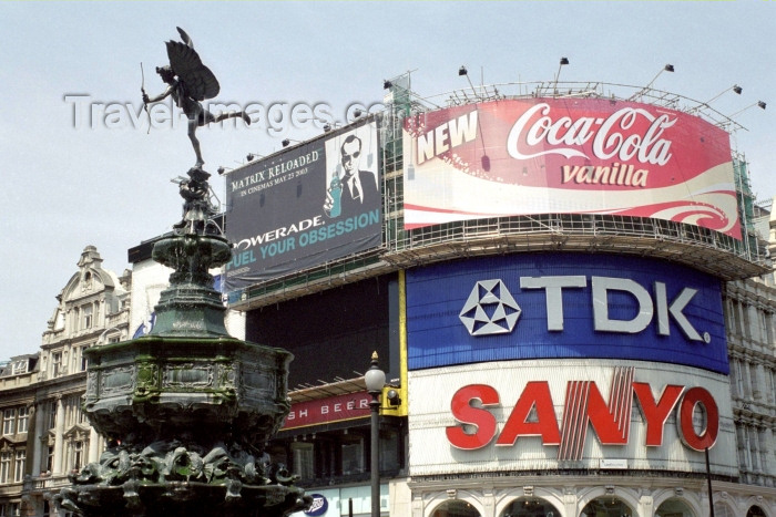 england251: London: Piccadilly Circus -  Eros fountain - aka Shaftesbury monument - photo by M.Bergsma - (c) Travel-Images.com - Stock Photography agency - Image Bank