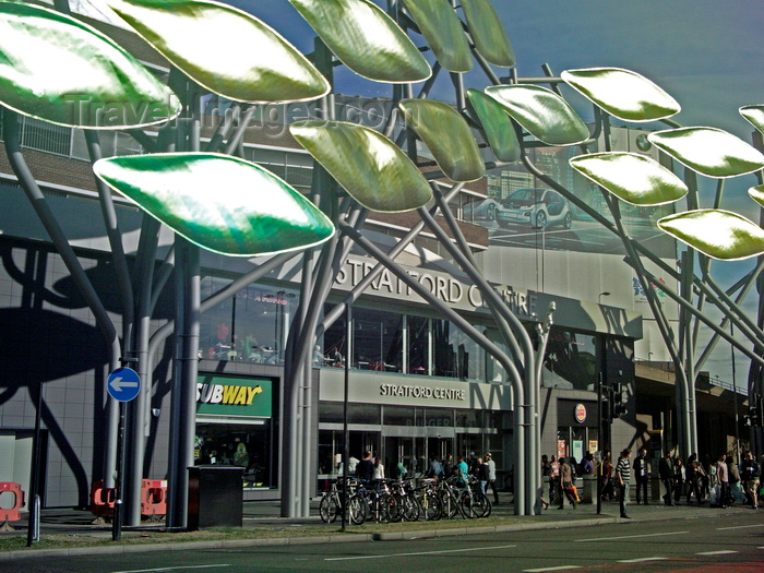england258: London, England: Stratford Centre's metal trees, Newham - photo by A.Bartel - (c) Travel-Images.com - Stock Photography agency - Image Bank