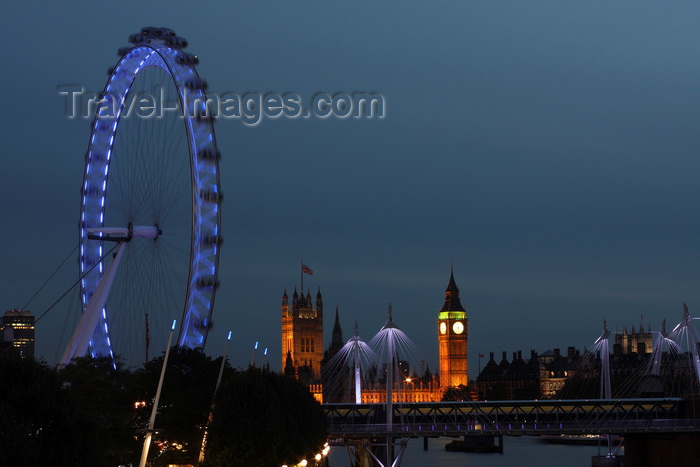 england260: London, England: London Eye, Houses of Parliament, Big Ben - nocturnal - photo by A.Bartel - (c) Travel-Images.com - Stock Photography agency - Image Bank
