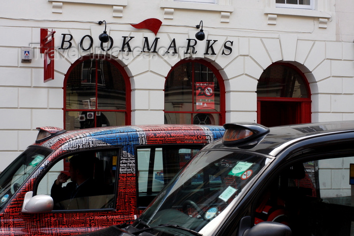 england261: London, England: Bookmarks Bookshop, Taxis, Bloomsbury - photo by A.Bartel - (c) Travel-Images.com - Stock Photography agency - Image Bank
