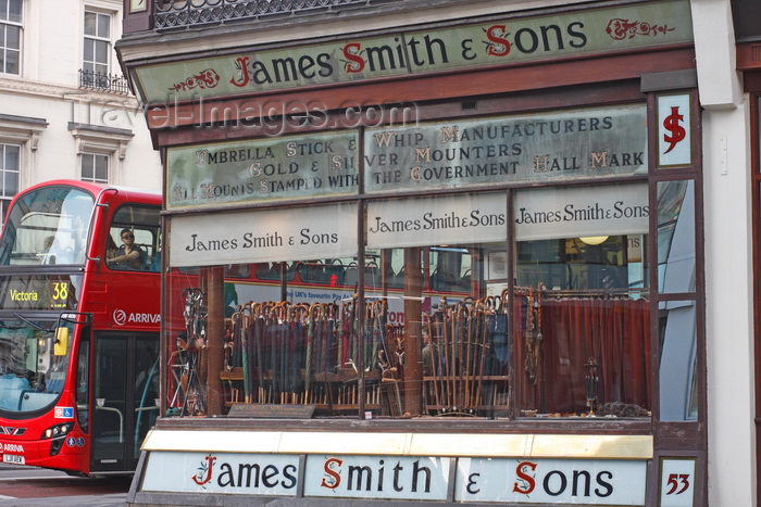 england263: London, England: Umbrella Shop window - James Smith and Sons - photo by A.Bartel - (c) Travel-Images.com - Stock Photography agency - Image Bank