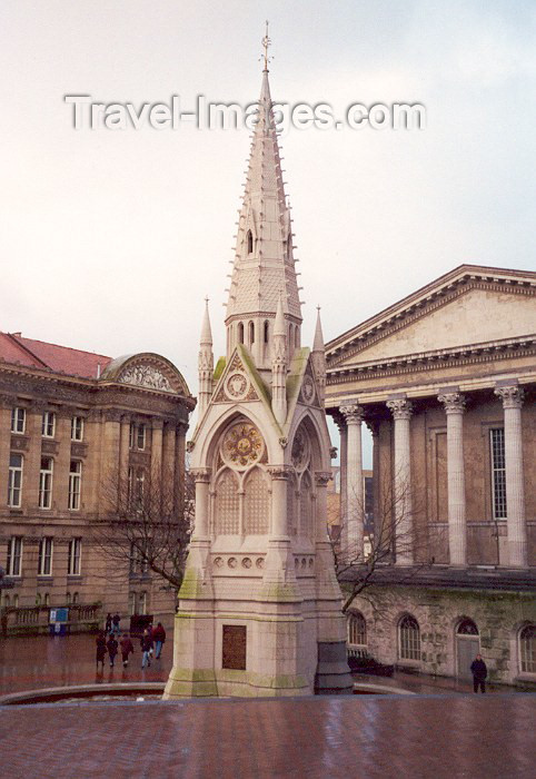 england34: Birmingham, West Midlands, England: Chamberlain Memorial Fountain and Town Hall - Chamberlain Square - photo by M.Torres - (c) Travel-Images.com - Stock Photography agency - Image Bank