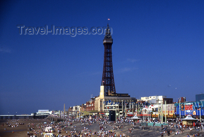 england360: Blackpool - Lancashire, England, UK: Blackpool tower and the beach - photo by T.Brown - (c) Travel-Images.com - Stock Photography agency - Image Bank