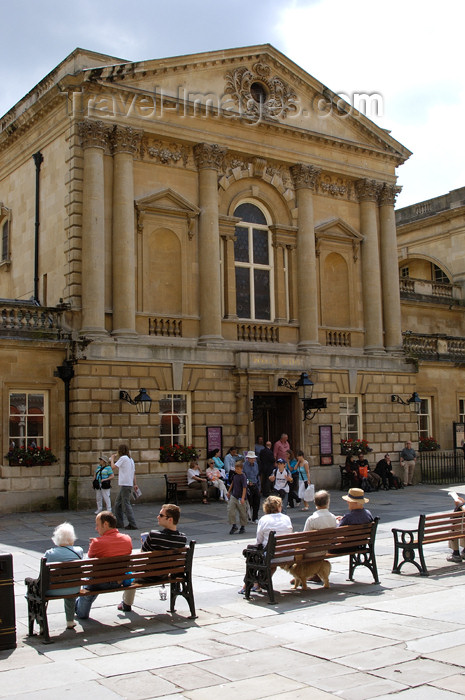 england373: England - Bath (Somerset county - Avon): View of Square at the Roman Baths - benches - photo by C. McEachern - (c) Travel-Images.com - Stock Photography agency - Image Bank