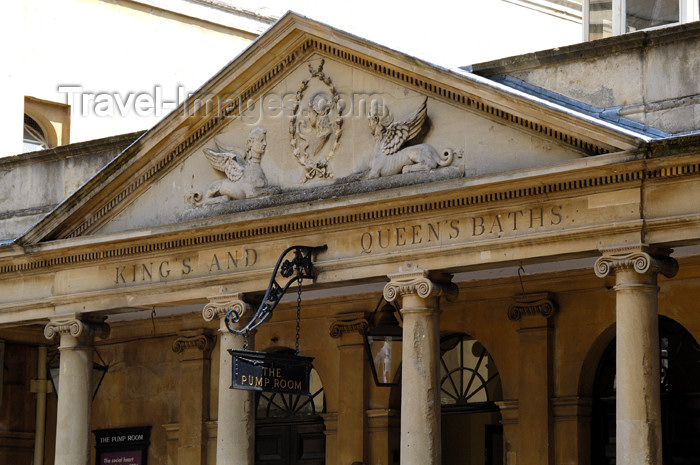 england379: England - Bath (Somerset county - Avon): Detail of the portico and gable at the entrance to the Roman Baths - photo by C. McEachern - (c) Travel-Images.com - Stock Photography agency - Image Bank