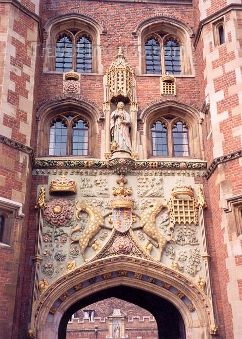 england38: England (UK) - Cambridge  (Cambridgeshire): gatehouse - gate decoration - St John's College - photo by M.Torres - (c) Travel-Images.com - Stock Photography agency - Image Bank