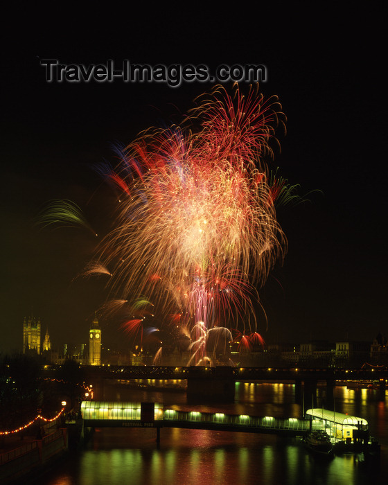 england406: London: Big Ben, fireworks, River Thames at Festival pier - photo by A.Bartel - (c) Travel-Images.com - Stock Photography agency - Image Bank