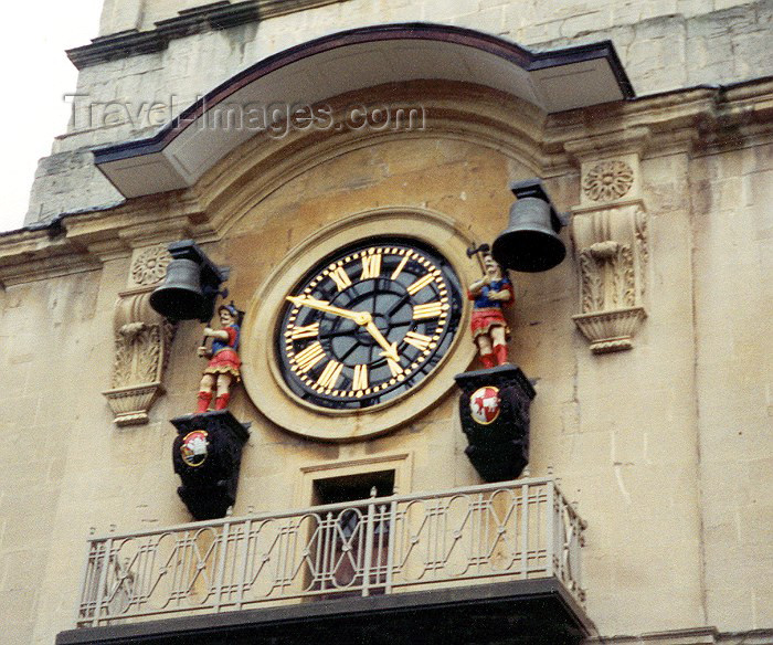 england41: England - Bristol (Somerset county): clock at Christ Church, Broad Street - guardians of time - photo by M.Torres - (c) Travel-Images.com - Stock Photography agency - Image Bank