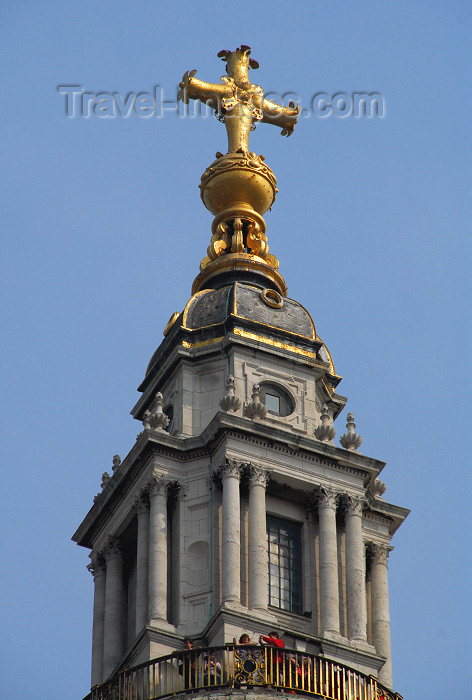 england413: London, England: St Paul's Cathedral - Visitors view London from the Golden Gallery, above the dome - cross - photo by M.Torres - (c) Travel-Images.com - Stock Photography agency - Image Bank