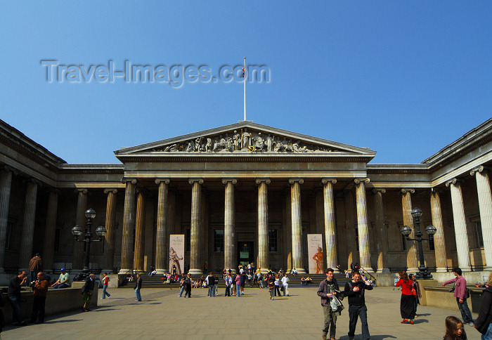 england422: London: British museum - southern façade - architect, Sir Robert Smirke - Great Russell Street - Camden - photo by M.Torres - (c) Travel-Images.com - Stock Photography agency - Image Bank