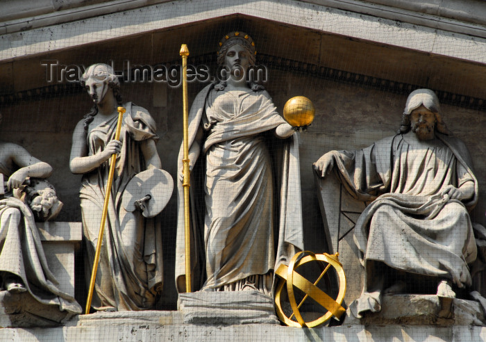 england423: London: British museum - pediment over the main entrance - sculptures by Sir Richard Westmacott - 'The Progress of Civilisation' - photo by M.Torres - (c) Travel-Images.com - Stock Photography agency - Image Bank