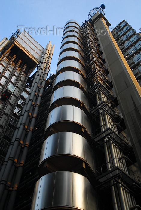 england445: London: LLoyds building - designed by architect Richard Rogers - Lime Street, City of London - Lloyd's of London - photo by M.Torres - (c) Travel-Images.com - Stock Photography agency - Image Bank