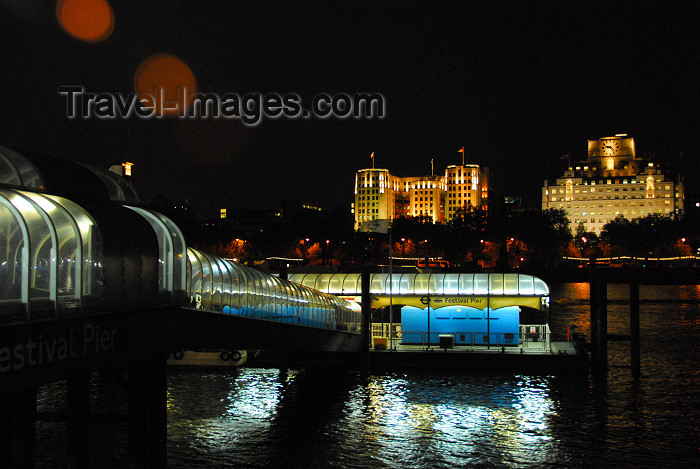 england458: London: Festival pier - view towards Victoria Embankment - Thames river - photo by  M.Torres - (c) Travel-Images.com - Stock Photography agency - Image Bank