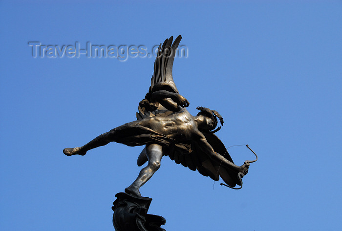 england460: London: Eros at the Shaftesbury Memorial Fountain - cast in aluminium - Piccadilly Circus - photo by M.Torres - (c) Travel-Images.com - Stock Photography agency - Image Bank