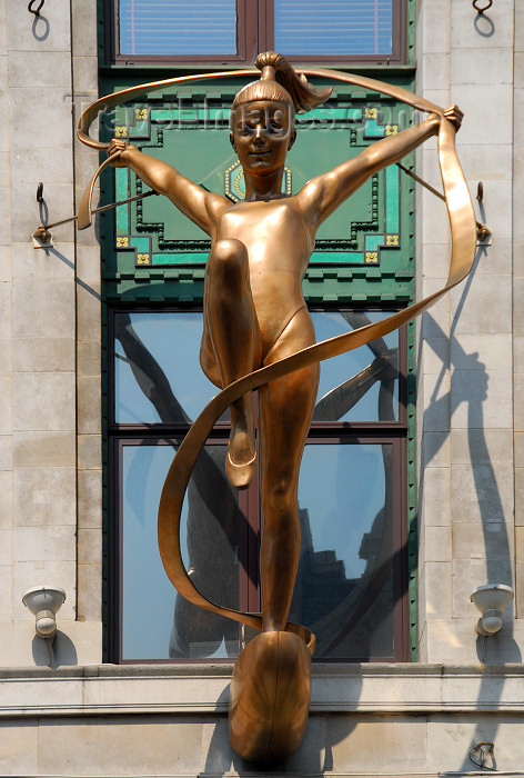 england479: London: Oxford street - golden gymnast - photo by M.Torres - (c) Travel-Images.com - Stock Photography agency - Image Bank