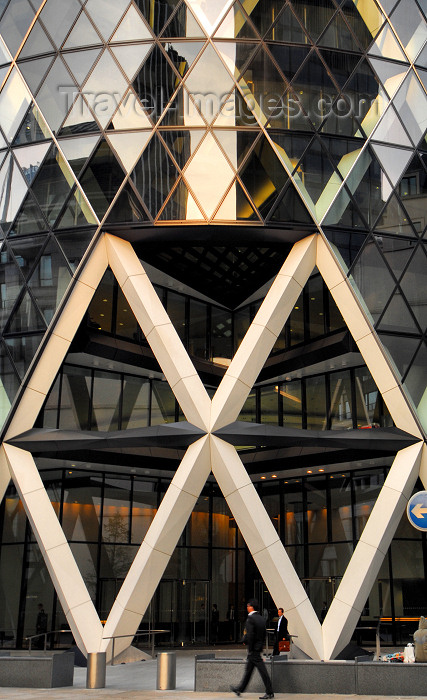 england491: London, England: entrance to the Gherkin - Swiss Re Tower - City of London - photo by M.Torres - (c) Travel-Images.com - Stock Photography agency - Image Bank