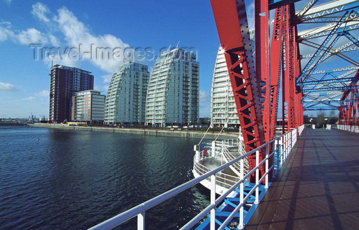 england503: Salford Quays, Salford, England: City Lofts, N V Buildings and Huron Basin from Detroit Bridge - photo by D.Jackson - (c) Travel-Images.com - Stock Photography agency - Image Bank