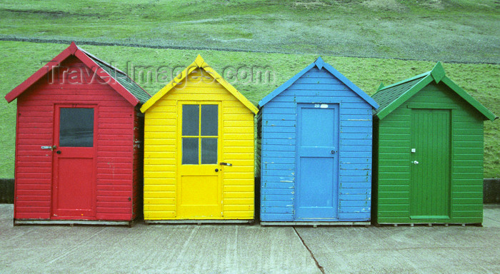 england504: Whitby, North Yorkshire, England: Colourful Beach Huts - photo by D.Jackson - (c) Travel-Images.com - Stock Photography agency - Image Bank