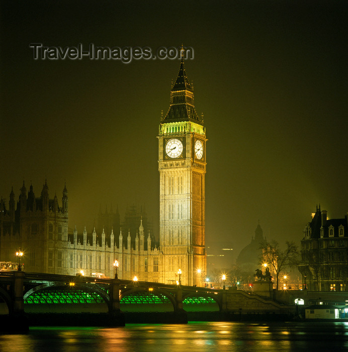 england521: England - London: Big Ben and Westminster bridge - nocturnal lights - photo by W.Allgower - (c) Travel-Images.com - Stock Photography agency - Image Bank