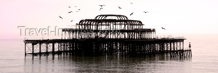 england525: Brighton, East Sussex, England, United Kingdom: silhouetted remains of the old burnt west Pier and seagulls - designed by  Eugenius Birch - photo by B.Henry - (c) Travel-Images.com - Stock Photography agency - Image Bank