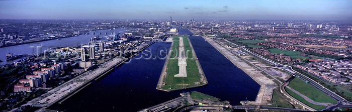 england533: Newham, London, England: runway - landing at London City Airport, Docklands - IATA LCY – ICAO EGLC - photo by A.Bartel - (c) Travel-Images.com - Stock Photography agency - Image Bank
