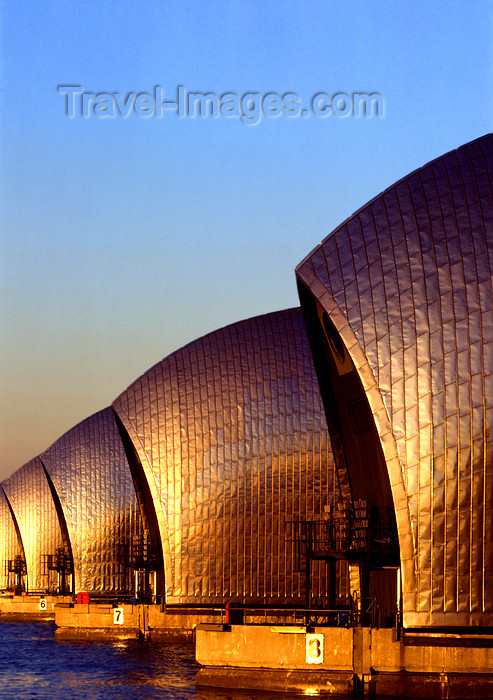 england534: Woolwich Reach, Borough of Greenwich, London, England: Thames Barrier - designed by Rendel, Palmer and Tritton - flood control - engineering - photo by A.Bartel - (c) Travel-Images.com - Stock Photography agency - Image Bank
